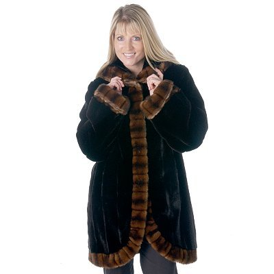 Buy Pamela McCoy Hooded Sable Trim Mink Tissavel Faux Fur Coat