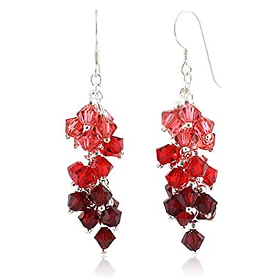 Chuvora Ruby Red Cluster Faceted Swarovski Crystal Sterling Silver Dangle Hook Earrings 1.5'': Jewelry: Amazon.com