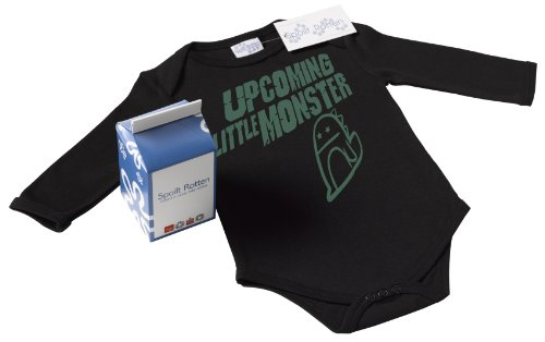 Spoilt Rotten - Upcoming Little Monster Baby Babygrow Funny Slogan 100% Organic Sizes 6-12 months BLACK + in funky Milk Carton