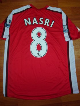 08-09 ARSENAL HOME JERSEY NASRI + FREE SHORT (SIZE M)