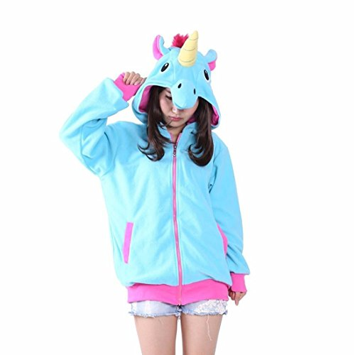 Rhh Unisex Cartoon Unicorno Costume Felpe Con Cappuccio, Tasche Laterali Zip Con Cappuccio Animale Cosplay Felpa Casual Carino Indossare Giacca Blu S