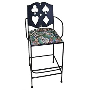 Cards Bar Side Chair with Arms Finish: Jade Teal, Fabric: Mocha