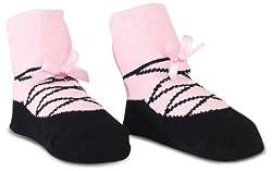 Mud Pie Newborn Baby-Girls Ballet Slipper Socks, Black/Pink, 0-12 Months