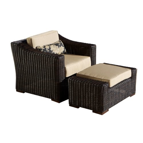 RST Outdoor OP-PECLBO-RES-E-K Resort Collection Club Chair/Ottoman Rattan Patio Furniture Set, Espresso