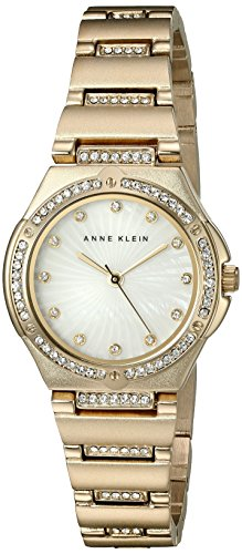 anne-klein-damen-quarzuhr-mit-weissem-zifferblatt-analog-anzeige-und-gold-legierung-armband-ak-n2416