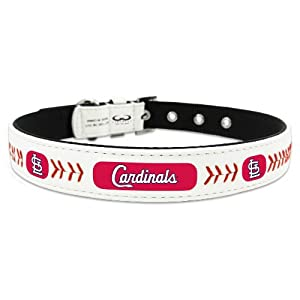 MLB St. Louis Cardinals Classic Leather Baseball Dog Collar (Toy)
