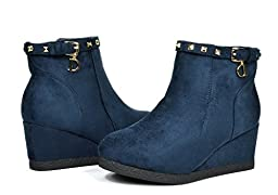 Dream Pairs KHLOE Girls Fashion Studded Bucke Strap Fur Lined Wedge Booties Boots Blue Size 9