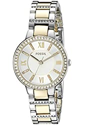 Fossil Women's ES3503 Virginia Crystal-Accented Two-Tone Stainless Steel Watch