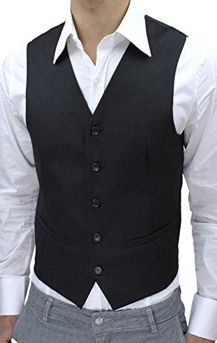 Panciotto Gilet uomo Slim Fit nero Cardigan casual Smanicato corpetto (3XL)