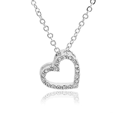 Tiffany Style Crystal Embedded Open Heart Charm and Necklace