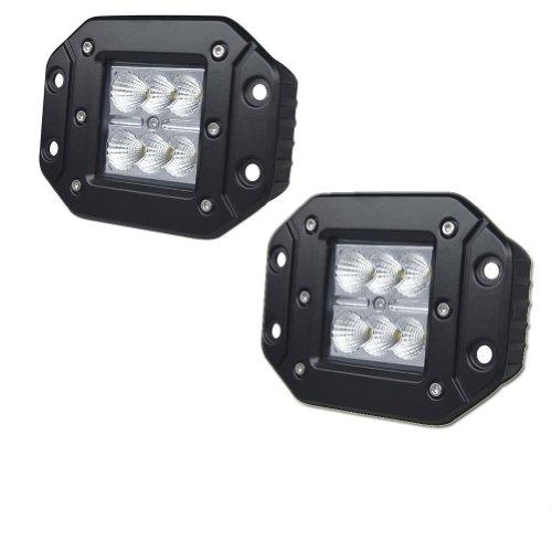 "Nilight® 2Pcs 18W 3X3 Dually Flush Mount Cree Led Light Lamps Dually D2 Off Road 4X4 4Wd Jeep Truck F150 Tacoma Bumper 3"" Flood"