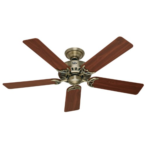 Hunter 25511 Summer Breeze 52-Inch 5-Blade Ceiling Fan, Antique Brass with Walnut/Medium Oak Blades