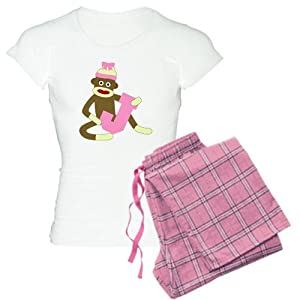 CafePress Sock Monkey Monogram Girl J Women's Light Pajamas Women's Li