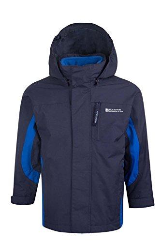 Mountain Warehouse Cannonball 3In1 Kinder Wasserdichte Jacke Doppeljacke Abnehmbarer Kapuze Fleece Marineblau 104 -