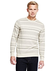 XS Blue Harbour Pure Cotton Striped Piqué Jumper