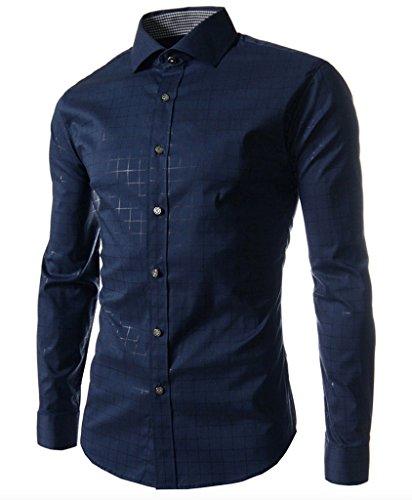WSLCN -  Camicia Casual  -  Vestito modellante  - A quadri - Maniche lunghe  - Uomo blu scuro X-Large