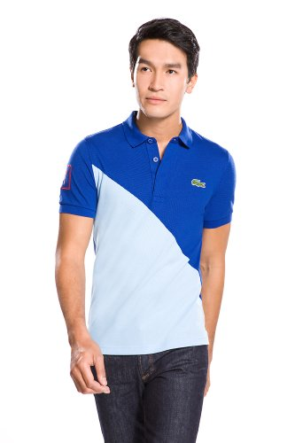 Short Sleeve Diagonal Color Block Polo Shirt