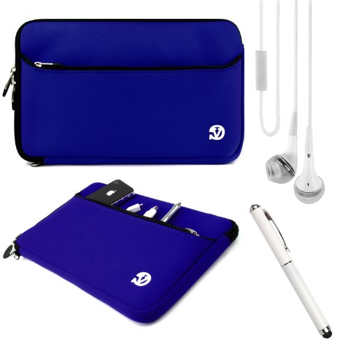 Blue Slim Protective Soft Neoprene Cover Carrying Case Sleeve With Extra Pocket // Fits Anywhere// For Acer Iconia W3-810-1600 8.1 Inch Tablet (32 Gb) + White Crystal Clear High Quality Hd Noise Filter Handsfree Earbuds ( 3.5Mm Jack ) + Professor Pen 3 In