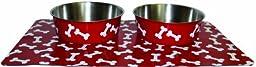 Danazoo Crimson Bone Stay-On Mat with Stainless Steel Bowl