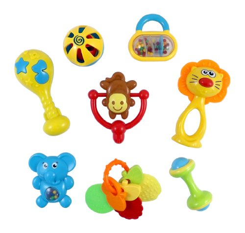 Animal Fun 8 Piece Baby Rattle and Teether Toy Gift Set – Colors May Vary