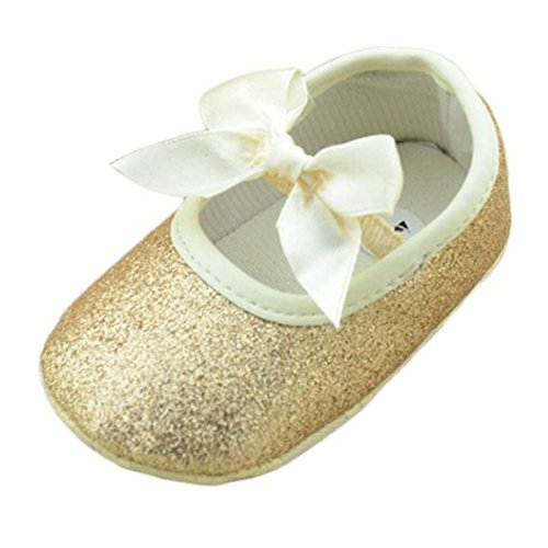 Perman Baby Girls Infant Glitter Shoes Sneaker Anti-slip Soft Sole Toddler (12cm/6-12M, Gold)