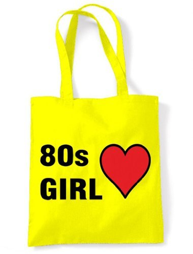 Women's 80s Eco Friendly Tote Shoulder Bag - Yellow or Cream