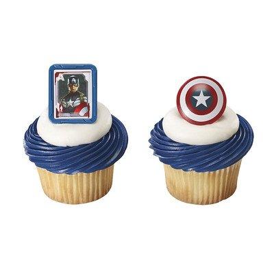 DecoPac Captain America Shield Cupcake Rings (12 Count)