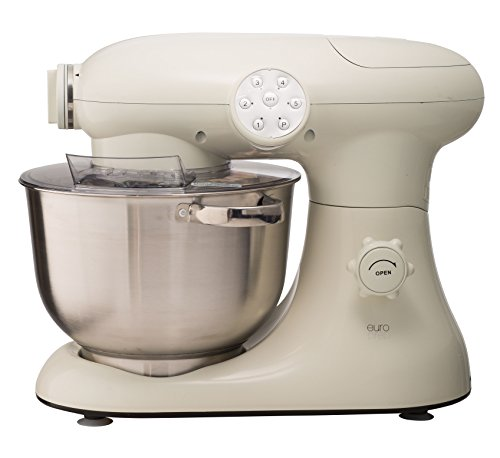 New EuroPrep EP700 7-Quart 6 Speed Stand Mixer, Planetery Action with Stainless Steel Bowl (Cream)
