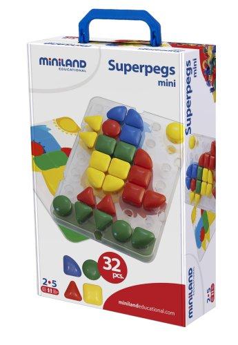 Miniland - Superpegs Mini, 32 piezas