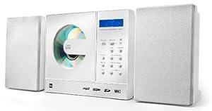 """Dual Vertical 150 - Cadena compacta (reproductor de CD y MP3, sintonizador PLL, memoria de canales, entrada para USB, SD y MMC, reloj, cronómetro, función """"sleep"""", línea de entrada, conexión para auriculares, mando a distancia), color blanco [Importado de Alemania]"""