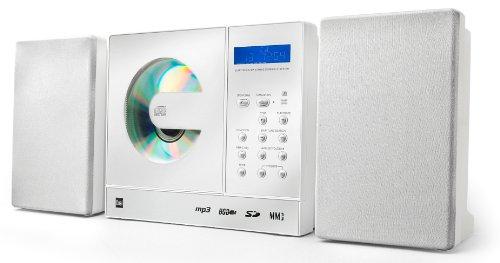 Dual Vertical 150 Kompaktanlage (CD-Player (MP3), PLL-UKW-Radio, Senderspeicher, USB-/SD-/MMC-Anschluss, Uhr-/Sleep-/Timerfunktion, Line-In, Kopfhöreranschluss, Fernbedienung) weiß