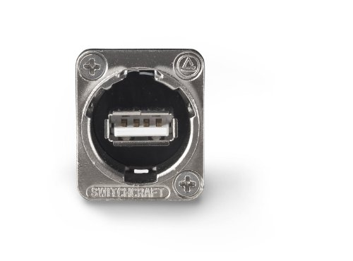 Switchcraft EHUSBABX USB-A to USB-B Feedthru Panel Mount Jack, Nickel Finish