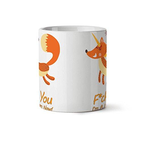 Animal-Renard-Licorne-Content-Corne-NOUVEAU-Blanc-Th-Caf-Cramique-Tasse-11-oz-Wellcoda