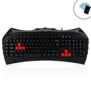 Precision-PRO USB Gaming Keyboard with Texturized Keys and 9 Hotkeys for DOTA 2 , League of Legends , Battlefield 3 / 4 , Call of Duty: Black Ops II , Diablo 3 , Civilization 5 and More - Includes Accessory Bag & 2 Cleaning Cloths
