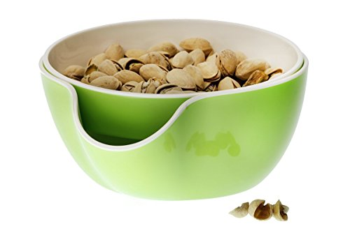 Wowly Pistachio Bowl - Double Dish Nut Bowl with Pistachios Shell Storage - Green (Super Bowl Serving Dishes compare prices)