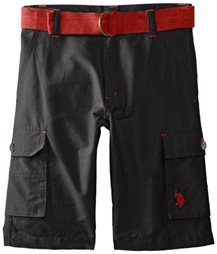 U.S. Polo Assn. Big Boys' Belted Cotton And Nylon Cargo Short, Black, 12