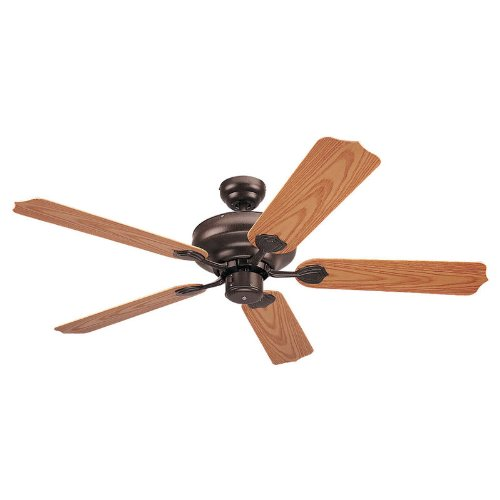 Sea Gull Lighting 1540-10 Long Beach 52-Inch, Five-Blade Outdoor Ceiling Fan, Bronze Powder coat with Oak Finish ABS Blades