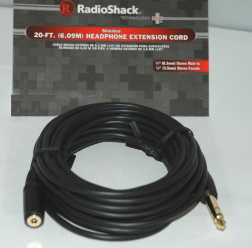 "20-Ft. Stereo Headphone Cable, 1/4"" Jack To 1/8"" Plug"