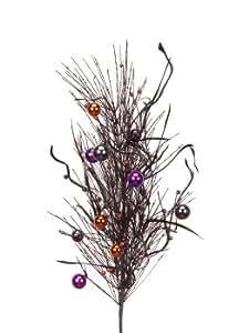 "Pack of 6 Black/Orange/Purple Halloween Fall Floral Sprays 31"""