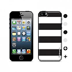 id America CSIA502-BLK Cushi Case for iPhone 5 - Retail Packaging - Black Stripe