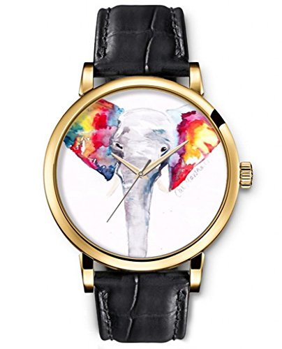 Sprawl Animal Watch Creative Design Analog Round Face Genuine Black Leather Gold --- Colorful Elephant Nose Watch For Women front-802316