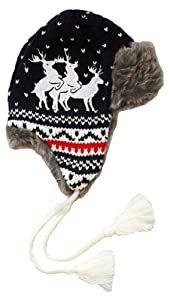 Reindeer Threesome Knitted Christmas Aviator Hat in Navy - Naughty & Funny
