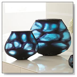 Blues Carved Glass Window Vase Set of 2