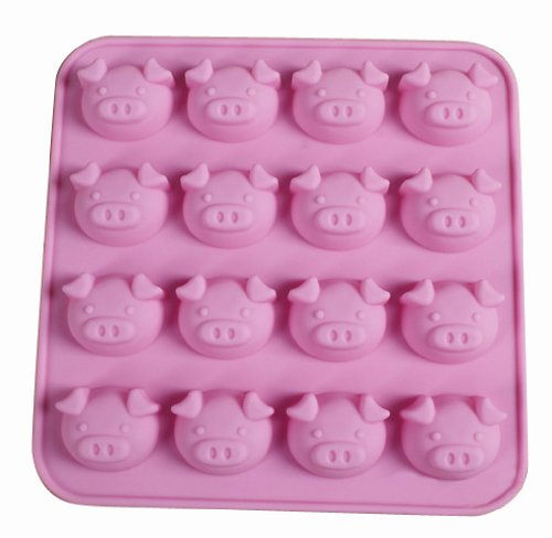 Jade Onlines 16-Cavity Adorable Pig Cartooon Animals Shaped Ice/Cake/Chocolate/Sugar Decorating Silicone Mini Cube Craft Fondant Mold Tray(Send By Random Colour)