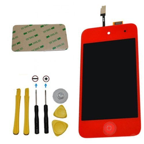 Yagadget Red Ipod Touch 4Th Generation Digitizer + Lcd Full Assembly + Home Button + 7 Piece Tool Kit + 3M Adhesive