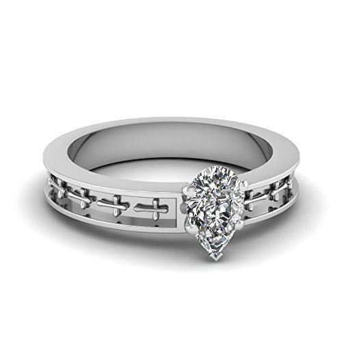 Fascinating Diamonds 0.75 Ct Pear Shaped Very Good Cut Diamond Cross Engagement Ring Vs1 Gold Gia