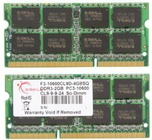 G.SKILL 4GB (2 x 2GB) 204-Pin SO-DIMM DDR3 1333 (PC3 10600) Laptop Memory Model F3-10600CL9D-4GBSQ