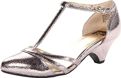 BC Footwear Women's Cool As A Cucumber T-Strap Pump,Pewter Crackle,8 M US