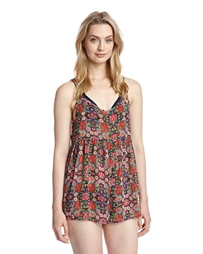 Jessica Simpson Women's Folkloric Cover Up Romper  [Black Multi]