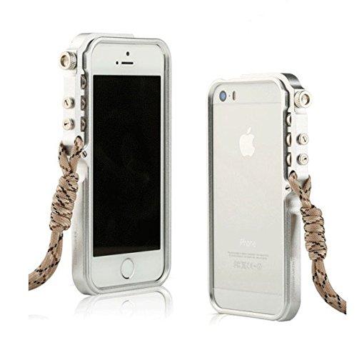 iPhone5sケース、iPhone5ケース、iPhone SEケース カバー、【RZS】[スクラッチ保護] [ドロップ保護] [耐震] メカニカルアームシェイプ保護金属シェル[ネックストラップ付き] 航空宇宙アルミニウムアイフォン5s/SE/5用 耐衝撃カバー (iPhone 5/5s/SE, シルバー)